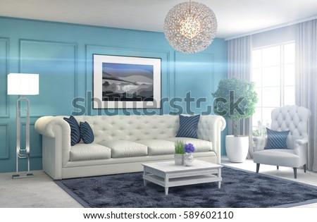 interior with sofa. 3d illustration #589602110