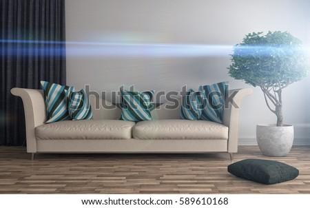 interior with sofa. 3d illustration #589610168