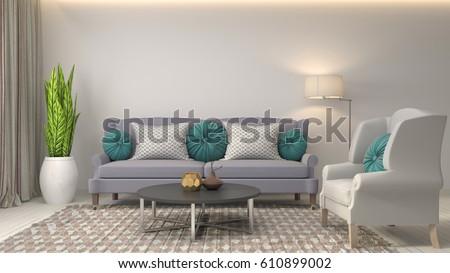 interior with sofa. 3d illustration #610899002