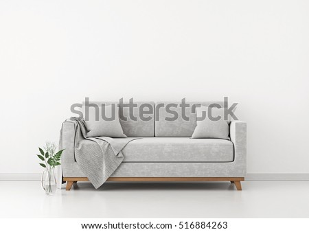 Interior with sofa, plants and plaid on empty white wall background. 3D rendering.