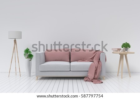 Interior with velvet sofa and lamp on empty white wall background. 3D rendering #587797754