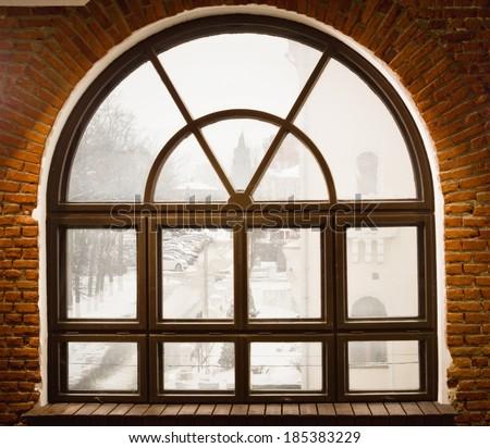 interior with vintage window...