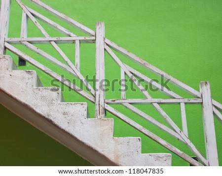 Interior - wood stairs - stock photo