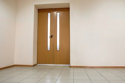 Interior wooden door on a clean wall i