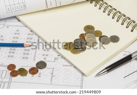 interior work plan  with coin money for business concepts