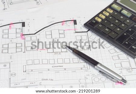 interior work plan with office object for business concepts