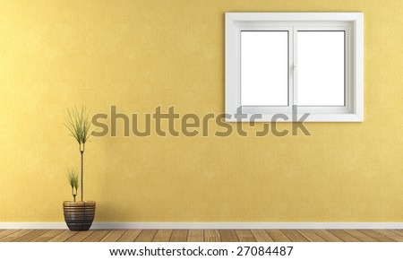 Interior yellow wall with a window