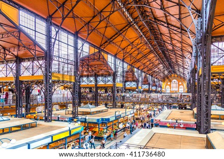 Interiors of Central Market Hall of Budapest, Hungary