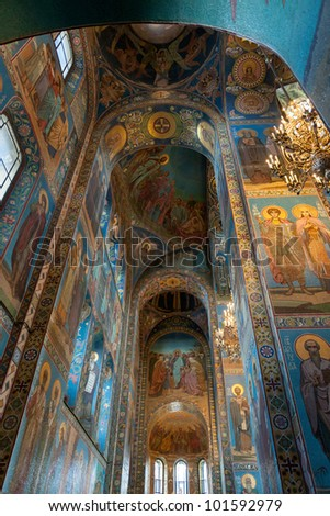Interiors of the Church of the Saviour on Spilled Blood, St. Petersburg, Russia