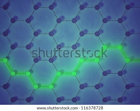 interlinked nodes, amongst whom a fluorescent pathway is highlighted, representing concepts such as connection, choices, traceability, route, as well as internet and other communication networks - stock photo