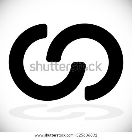 Interlocking circles, interlocking rings as abstract connection, symbiosis, integration icon