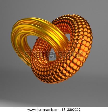 interlocking circles on background, 3d illustration