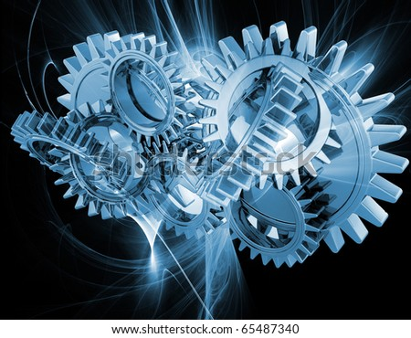 Interlocking gears on an abstract fractal background - stock photo