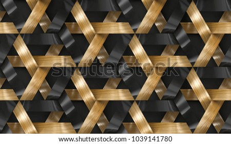 Interlocking stripes wooden and golden 3d texture . Material wood oak. High quality seamless realistic texture.