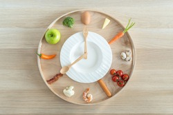 Intermittent fasting IF and ketogenic diet concept with 8-hour clock timer for eating nutritional or keto LCHF low carb high fat food meal healthy dish and 16-hour skipping meal for weight loss