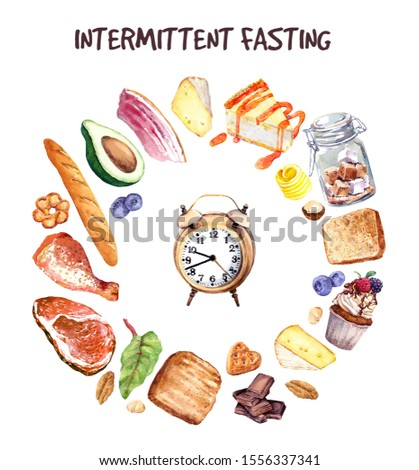 Intermittent fasting, IF diet illustration. Skip eat dieting concept. Various food around alarm clock timer. Watercolor