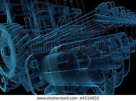 Internal combustion engine X-ray blue 3D isolated on black