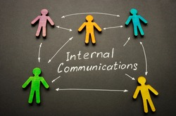 Internal communications words and arrows connected figures.