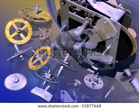 Internal device of mechanical clock - stock photo