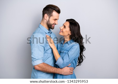 Internal love! Profile side view photo of handsome boyfriend girlfriend ready for kiss hugs touching looking into eyes wearing blue denim outfit isolated on ashy-gray background #1343295953