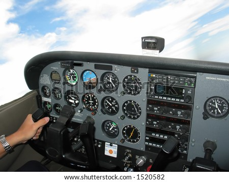 Internal of Cockpit - Aircraft Registration and Visible logo removed - stock photo