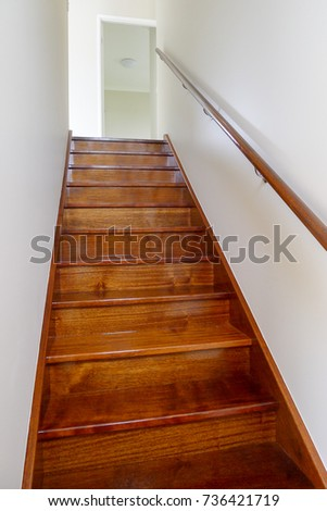 Internal timber staircase in two story house #736421719