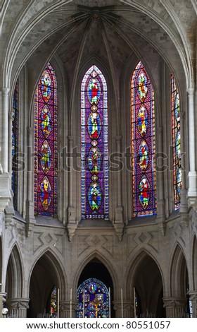 Internal view on oldest church of Paris - Abbey of Saint-Germain, France