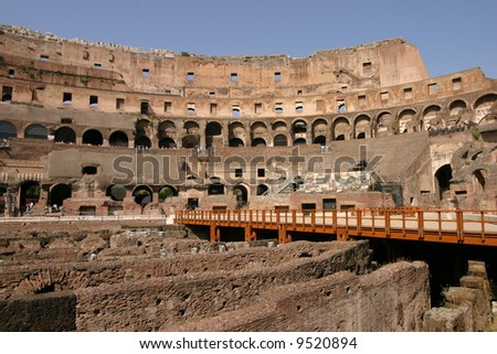 Internal wide angle view of the colosseum in Rome