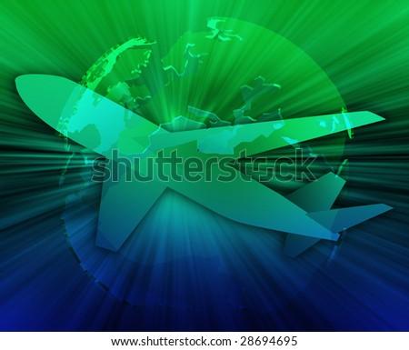 International air travel, airplane over globe Europe Africa