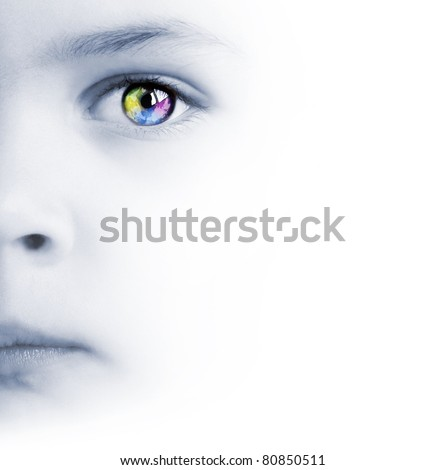 International background with beauty child's face, colorful eye and map