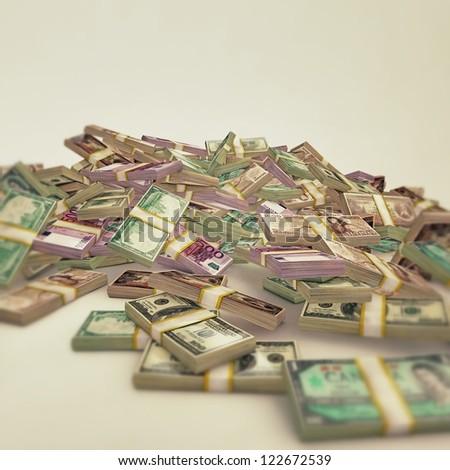 international bills isolated on white background