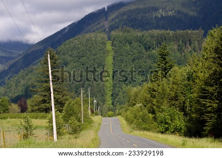 International border and 49th parallel between Canada and the United States of America is clearly shown here, south of Chilliwack, BC.