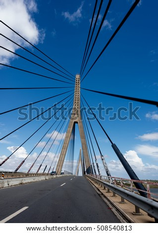 International Bridge, linking Portugal and Spain over the Guadiana river #508540813