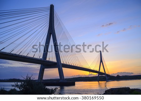 International Bridge, linking Portugal and Spain over the Guadiana river. Link Ayamonte and Villa Real Santo Antonio #380169550