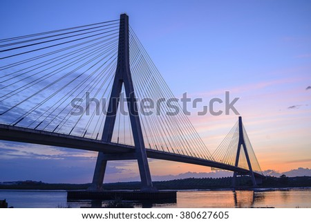 International Bridge, linking Portugal and Spain over the Guadiana river. Link Ayamonte and Villa Real Santo Antonio #380627605