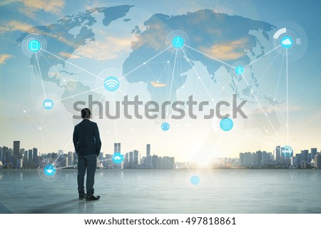 International business concept with businessman on city skyline background with network on map and sunlight #497818861