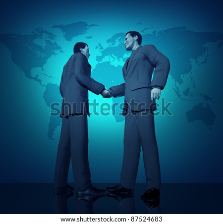 International business deal with a handshake between two businessmen with a blue world map in the background representing partnerships connections and contract agreements.