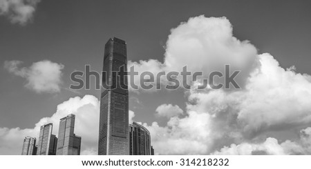 International Commerce Centre in Black and White, West Kowloon, Hong Kong - 10 Aug 2014: It is a commercial skyscraper completed in 2010. It is designed by Kohn Pedersen Fox Associates.