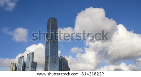 International Commerce Centre, West Kowloon, Hong Kong - 10 Aug 2014: It is a commercial skyscraper completed in 2010. It is designed by Kohn Pedersen Fox Associates.