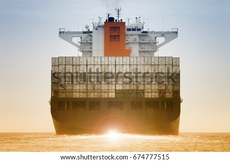 International Container Cargo ship for logistic import export concept of transport industry
