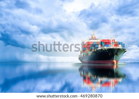 International Container Cargo ship in the ocean, Freight Transportation, Shipping, Nautical Vessel #469280870