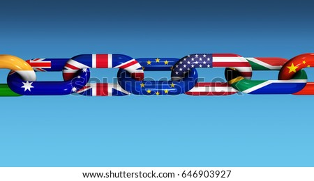 International cooperation and business collaboration concept with world flags on a chain 3D illustration.