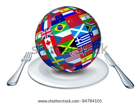 International cuisine represented by a globe with flags from many countries as Italy France and China representing gourmet and home cooking from around the world.
