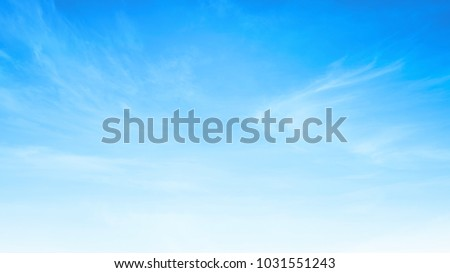 International Day for the Preservation of the Ozone Layer concept: Beauty white cloud and clear blue sky in sunny day texture background ストックフォト ©