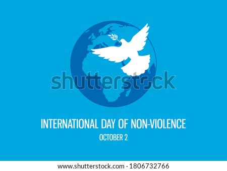 International Day of Non-Violence illustration. Dove of Peace icon. Planet Earth with a Dove icon. Silhouette of a dove on a blue background. Day of Non-Violence Poster, October 2. Important day
