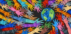 International diversity or earth day and international world culture as a concept of diversity and crowd cooperation symbol as diverse hands holding together the planet earth.