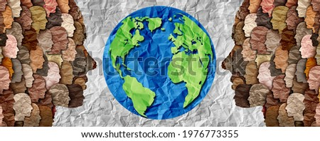 International diversity or earth day and international world culture as a concept of diversity and crowd cooperation symbol as diverse people standing for the planet earth in a 3D illustration style.