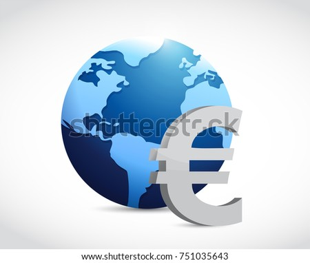 international euro currency sign concept illustration design over a white background