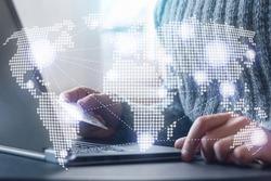 international financial transfer online, global money transaction, shopping online concept