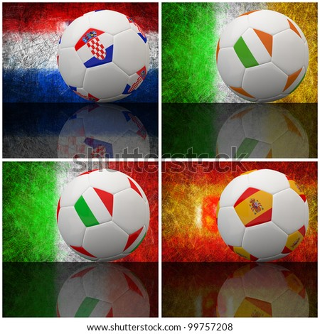International flag on 3d football for Euro 2012 Group C